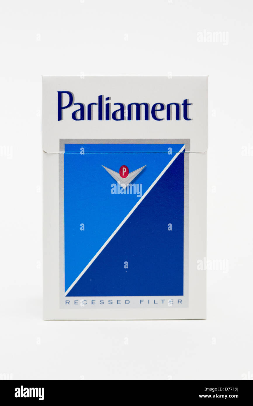 A pack of Parliament cigarettes.  Stock Photo