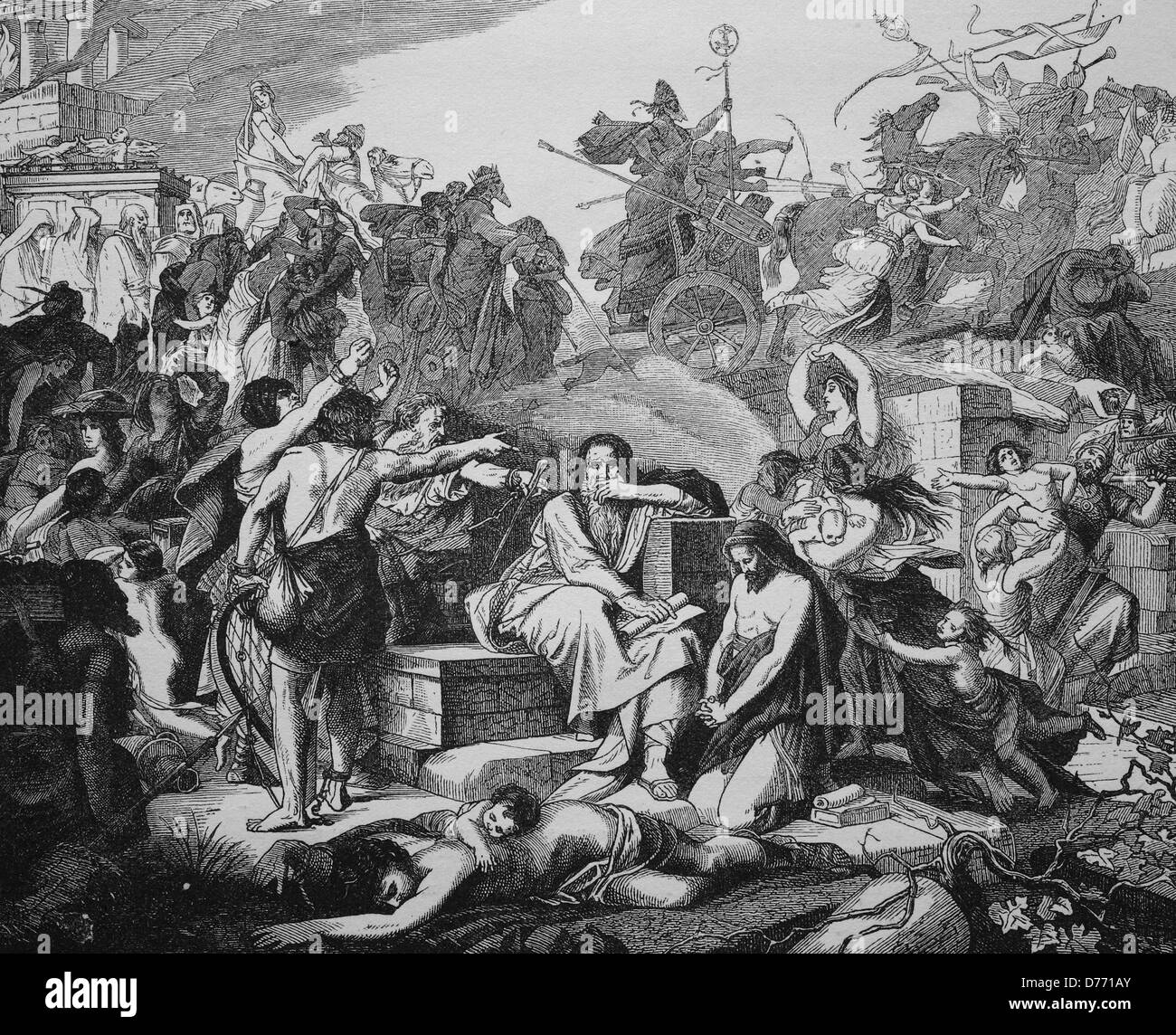 Exodus of the Jews from Babylon, about 540 BC, woodcut from 1880 - Stock Image