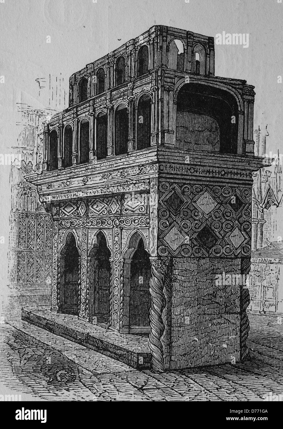 Tomb of Edward the Confessor, 1004 - 1066, King of England, Westminster, historical woodcut, circa 1870 - Stock Image