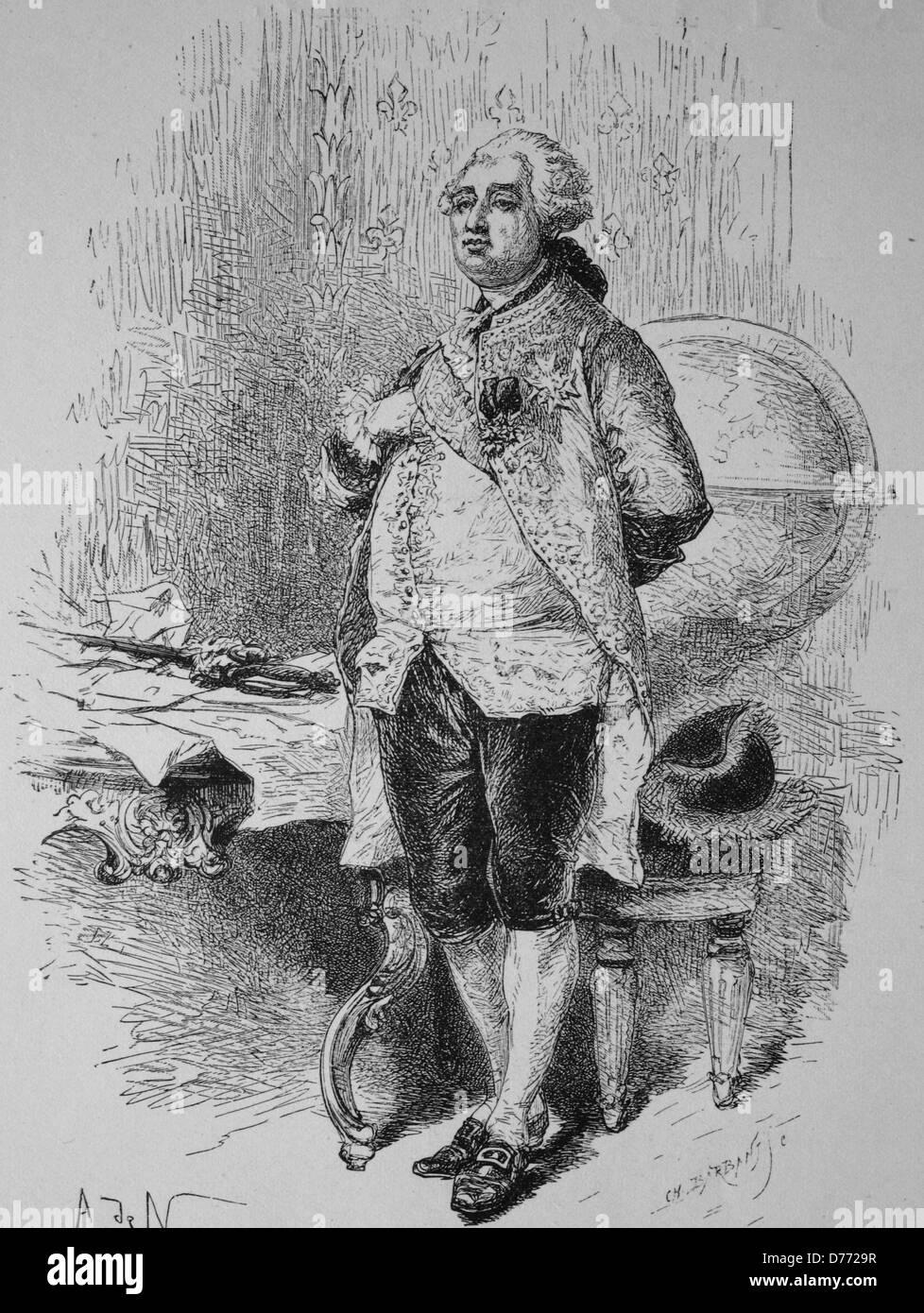 Louis XVI, woodcut from 1880 - Stock Image