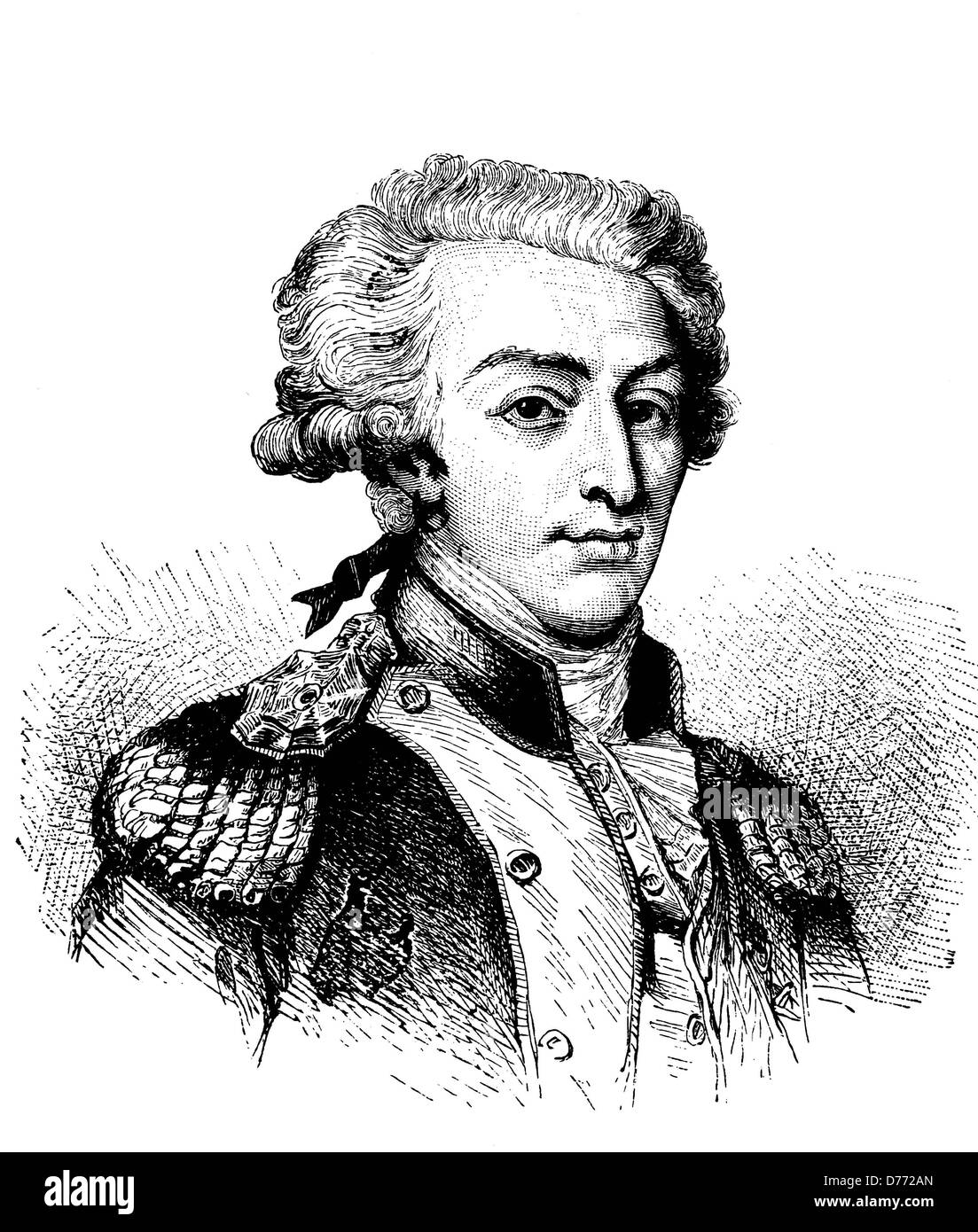 Marie Josef Paul de Lafayette, 1757 - 1834, French politician, historical woodcut, circa 1880 - Stock Image
