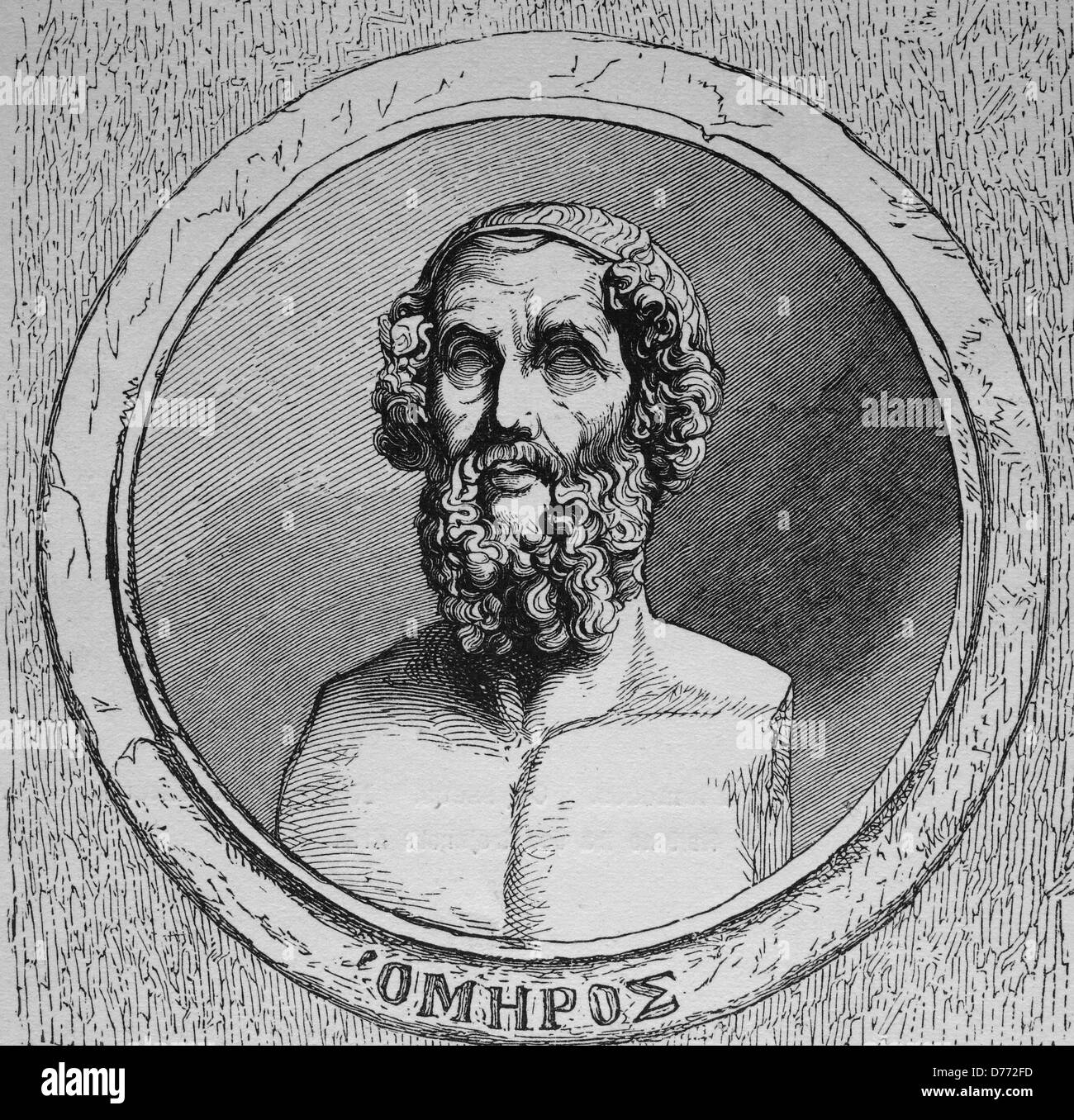 Homer, author of the Iliad and the Odyssey, considered to be the first poet of the occident, woodcut from 1880 - Stock Image