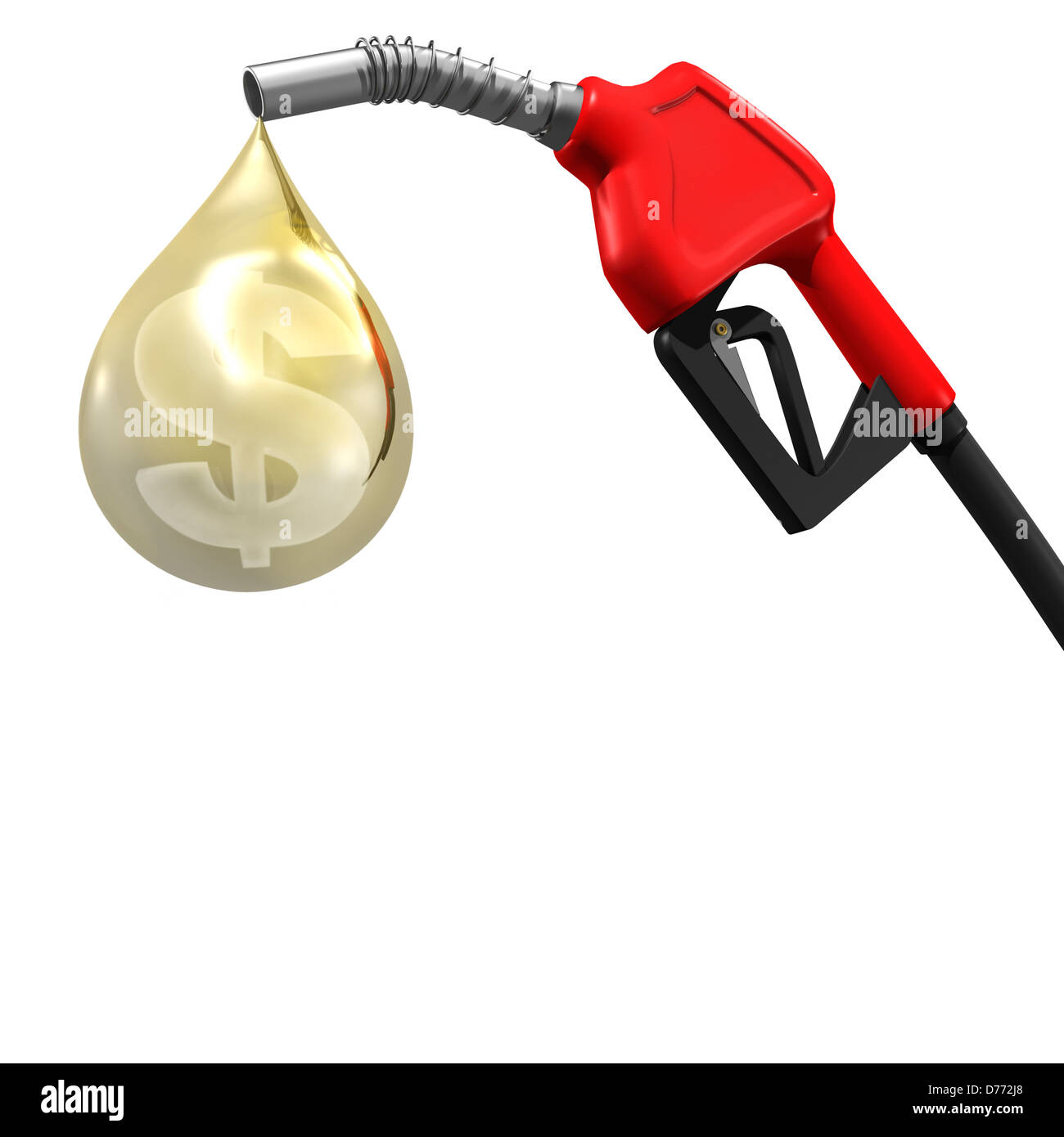 Gas station pump nozzle with a dollar symbol insed a drop of gasoline. Price of fuel concept isolated on white background. - Stock Image