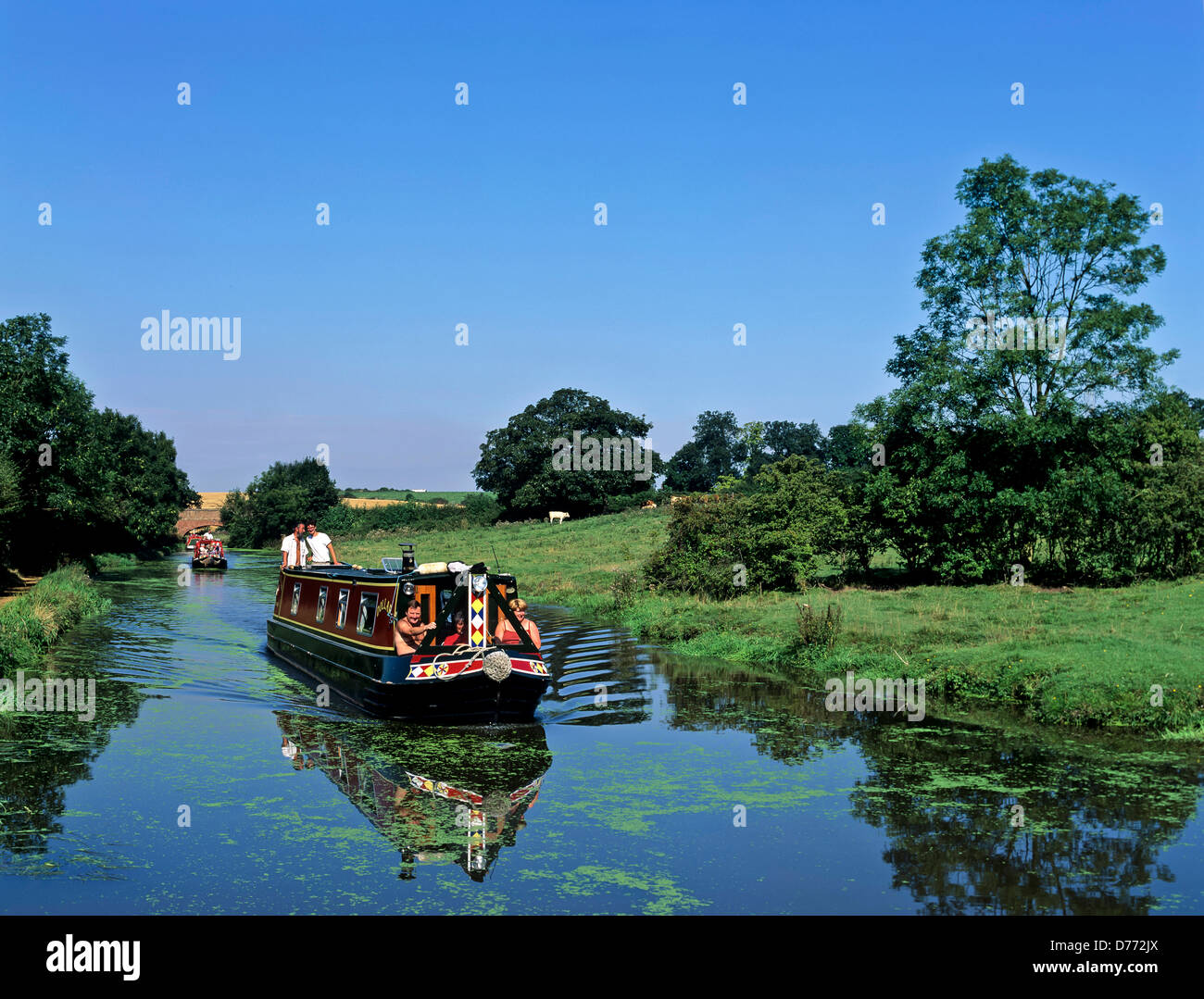 8681. Narrow boat on the Oxford canal, Warwickshire, England, UK, Europe - Stock Image