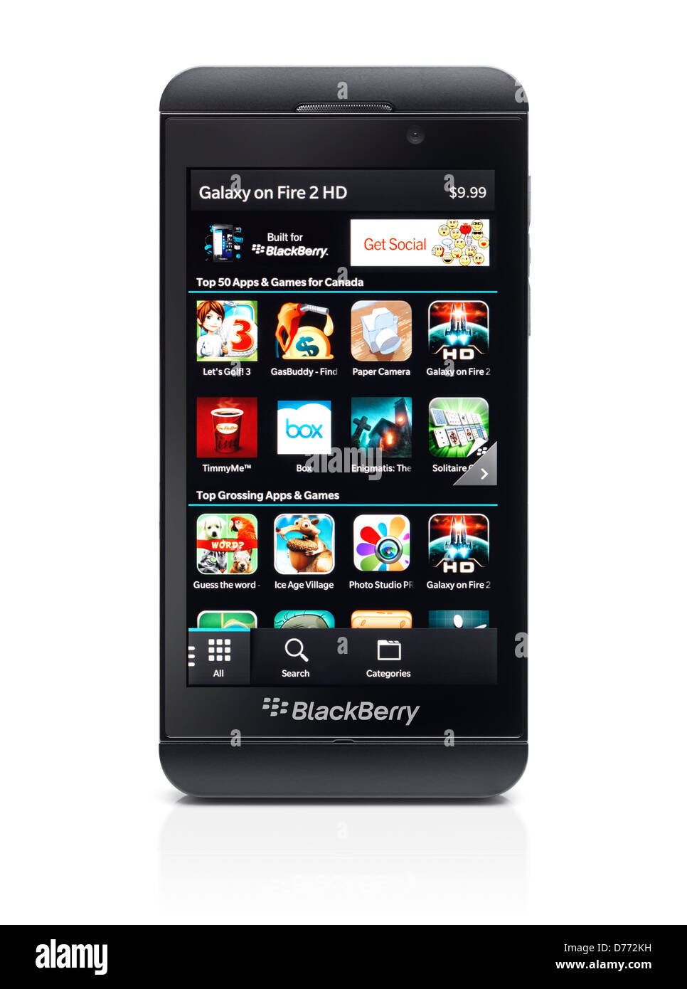 Blackberry Z10 smartphone with Blackberry World app store on its