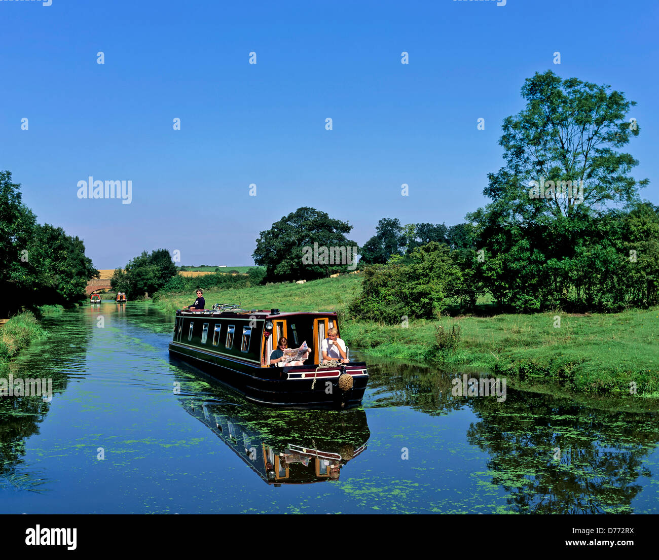 8685. Narrow boat on the Oxford canal, Warwickshire, England, UK, Europe - Stock Image