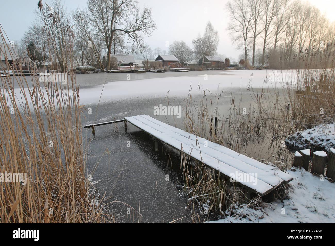Bovenau, Germany, eider-old frozen canal near the lock at Kluvensiek - Stock Image
