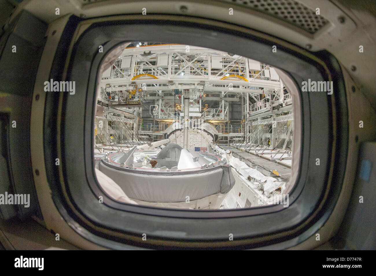 View looking at aft windows Space Shuttle Atlantis Stock Photo