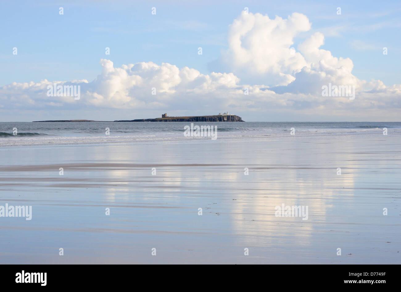The Farne Islands from Bamburgh beach Stock Photo