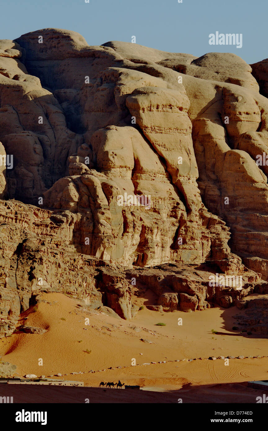 Jordan wadi Rum reserve the desert with rock formations - Stock Image