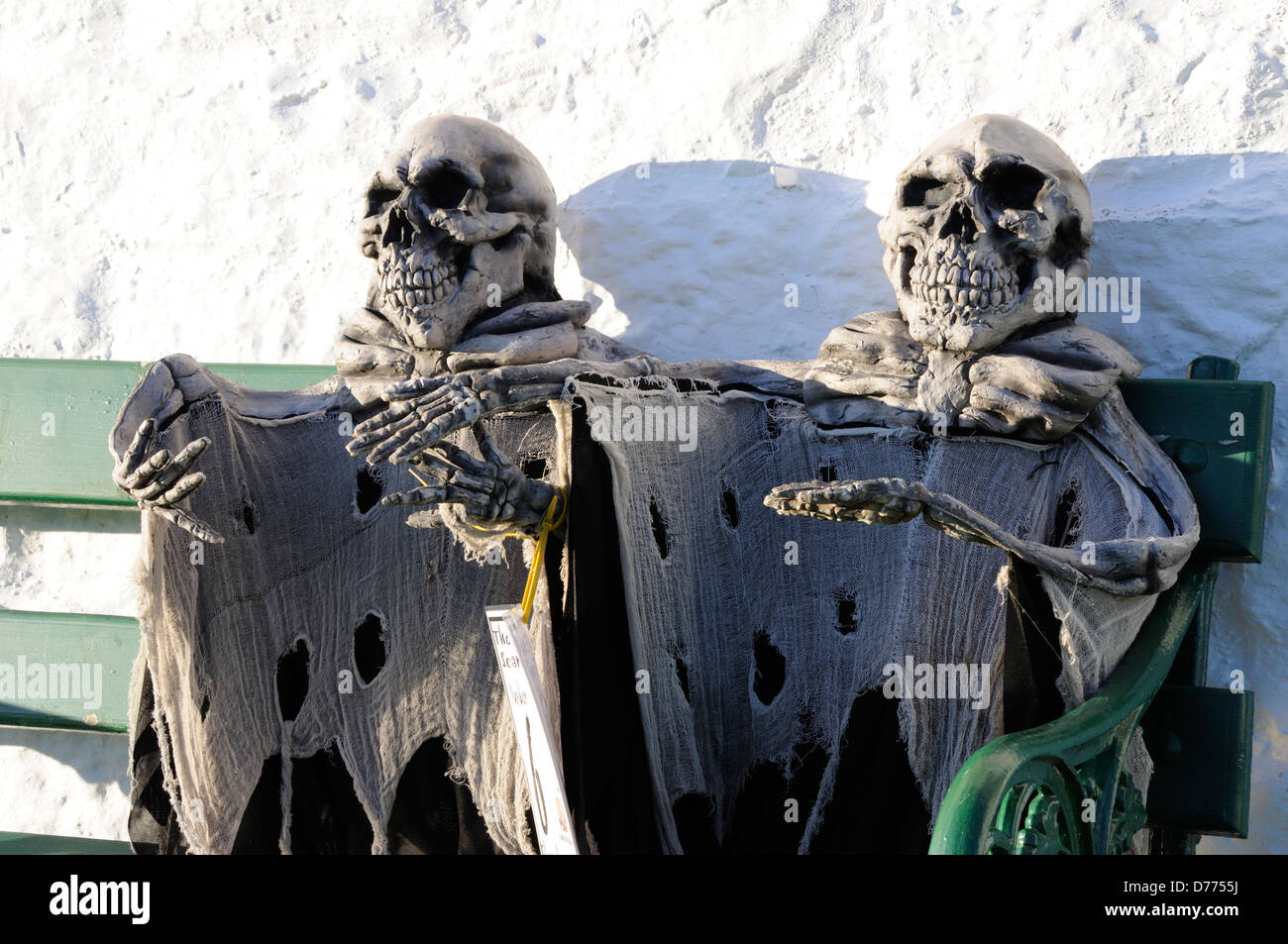 A pair of skeletons on the Ford and Etal Scarycrow Trail Stock Photo