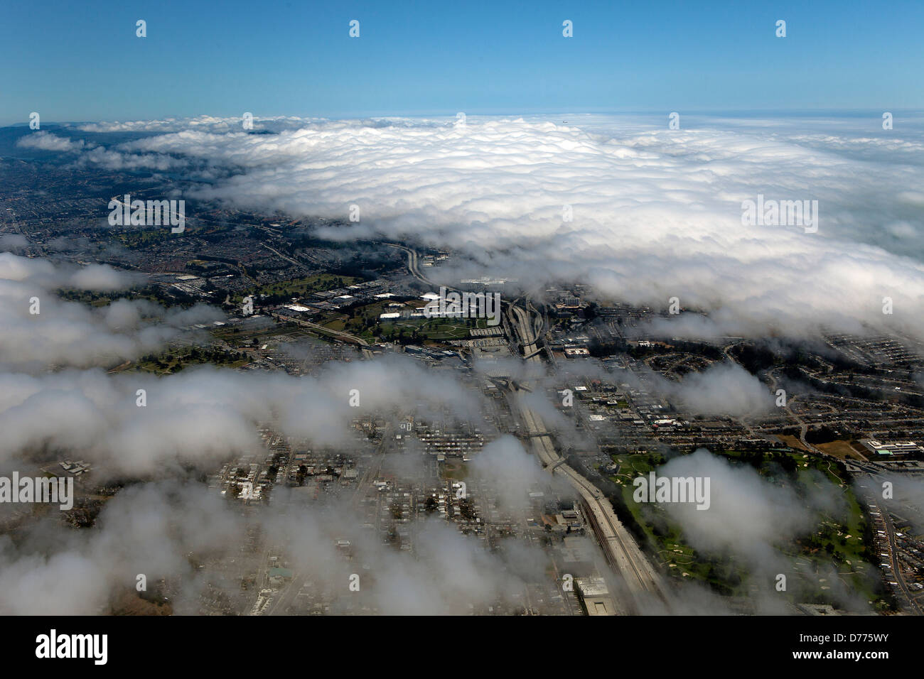 aerial photograph fog Daly City, San Mateo County, California - Stock Image