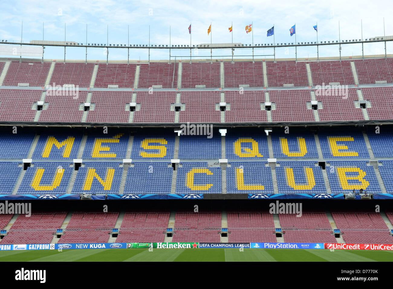 'Mes que un Club' (More than a Club) on the back straights of the Camp Nou Stadium in Barcelona,Spain, - Stock Image