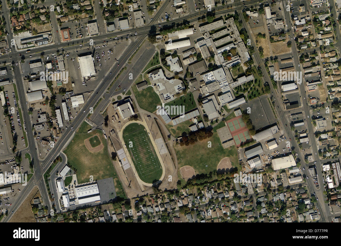 aerial photo map of Edison High School Stockton California Stock