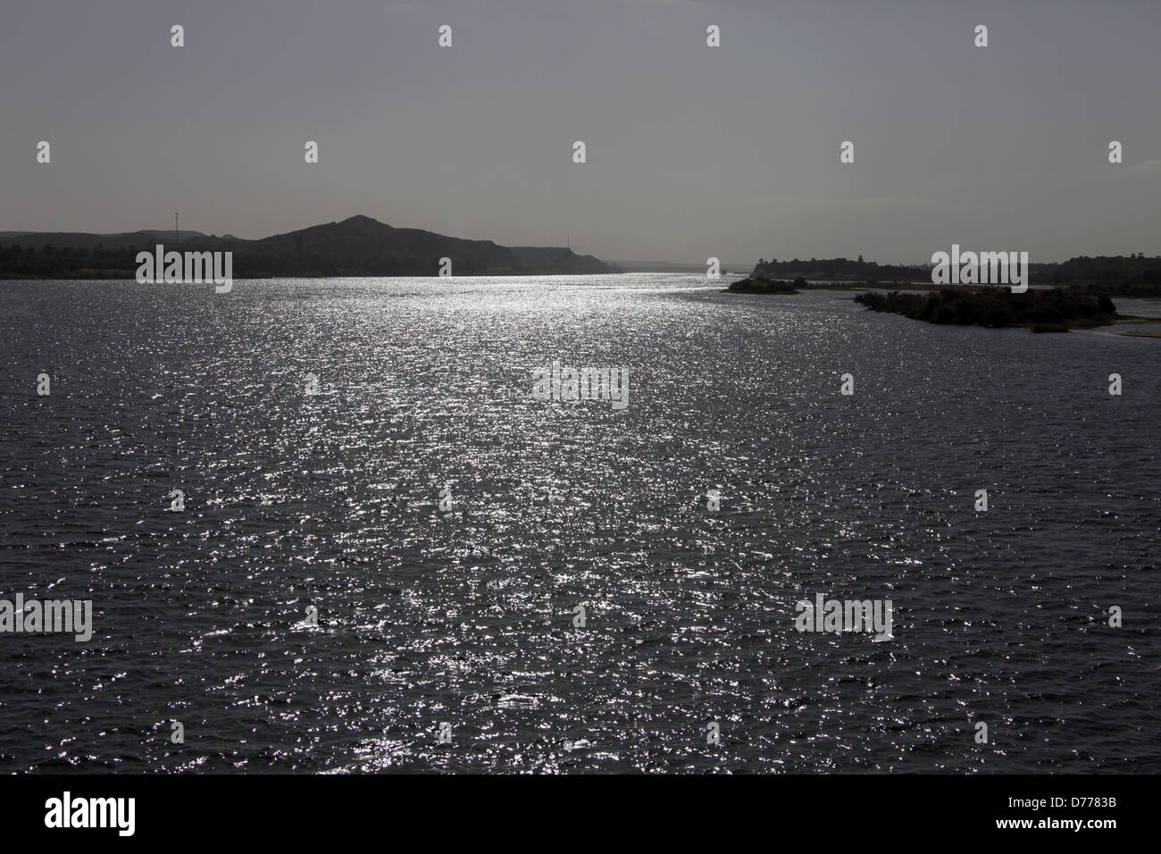 BACKLIT SPARKLING WATER RIVER NILE EGYPT 09 January 2013 - Stock Image