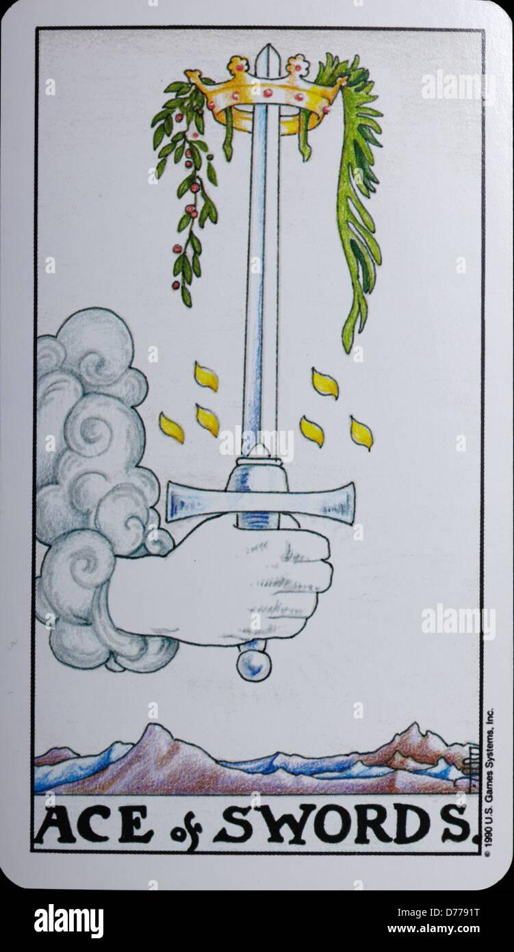 Tarot Card 'Ace of Swords' - Stock Image
