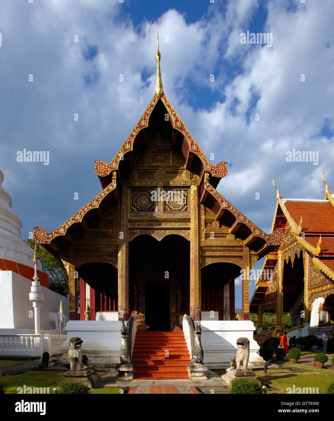 Thailand Chiang Mai city Wat Phra Singh - Buddhist Temple This temple contains supreme examples Lanna art. chedi was first Stock Photo