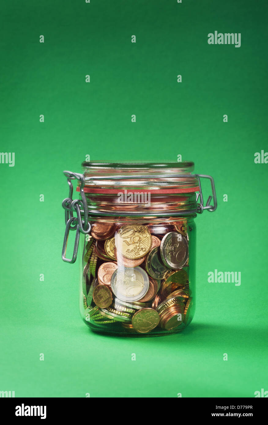 Hamburg, Germany, EUR and Centmuenzen in a Jar - Stock Image