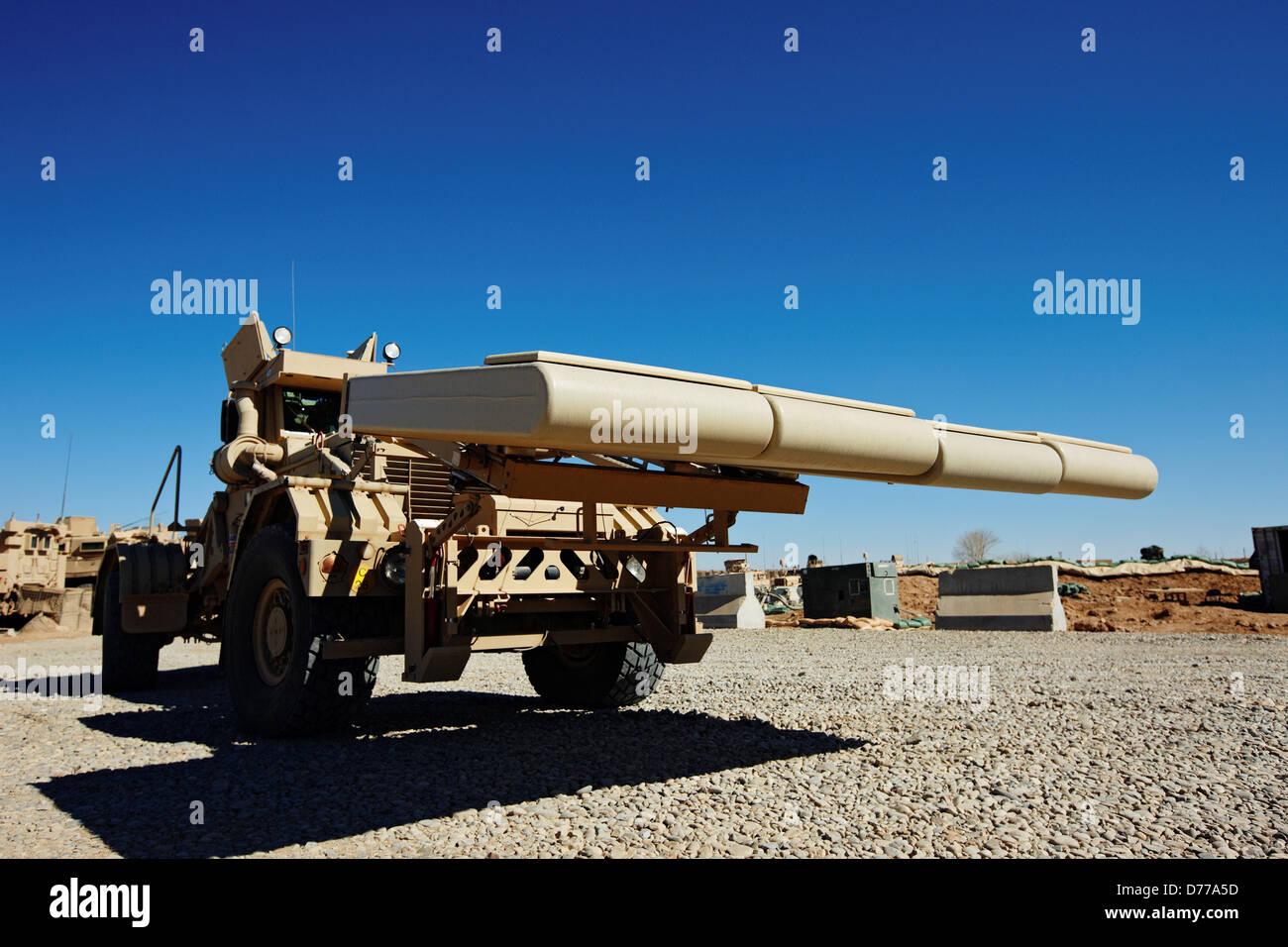A NITEK Ground Penetrating Radar System Used to Detect Buried Explosives U.S Marine Corps Forward Operating Base - Stock Image