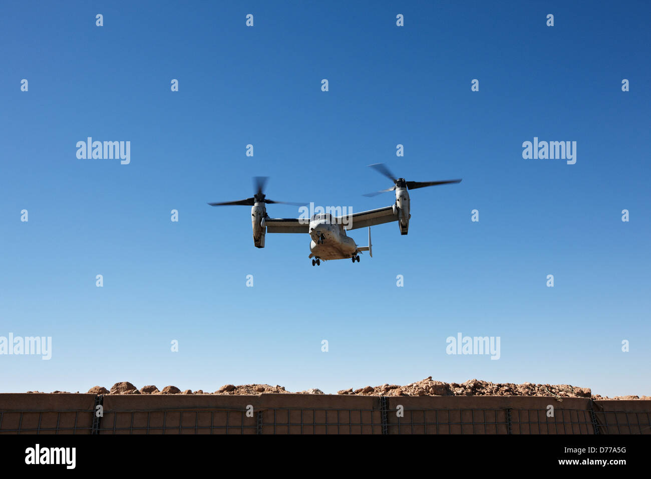 A U.S. Marine Corps MV-22 Osprey Prepares to Land at Landing Zone at Forward Operating Base in Afghanistan's Helmand Stock Photo