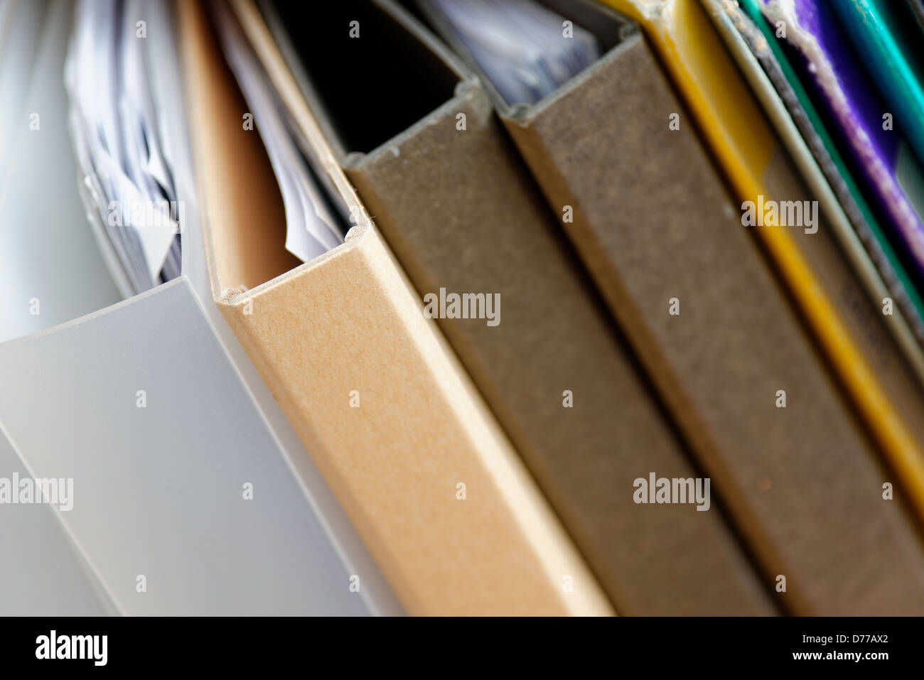 Different types of files with paperwork - Stock Image