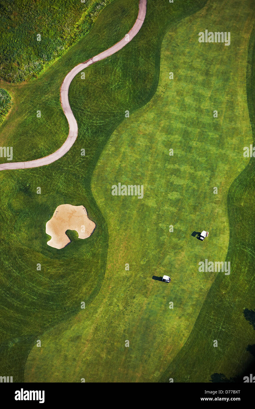 Aerial View Golf Course Showing Sand Trap Fairway Golfers Golf Carts - Stock Image