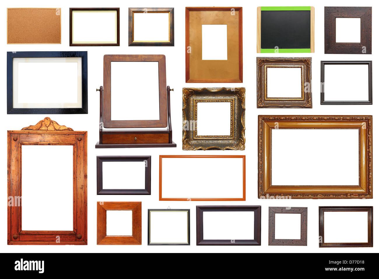Large Collection Of Different Types Of Wooden Frames Isolated On