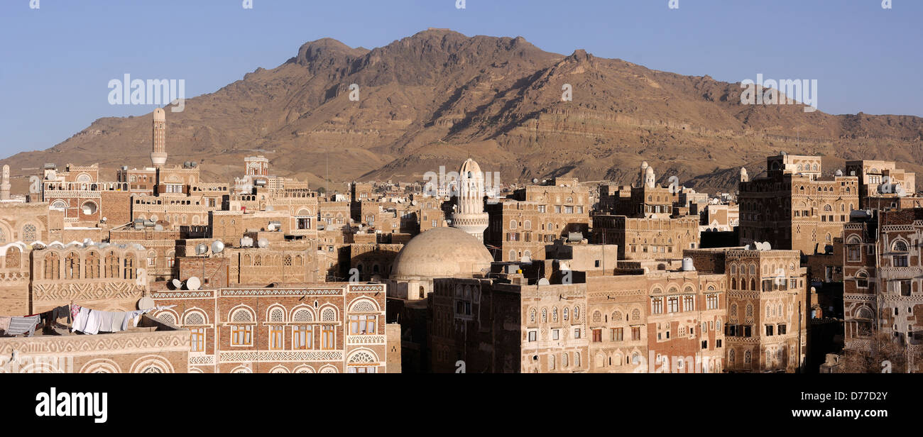 Panorama picture from Sana'a old city - Stock Image