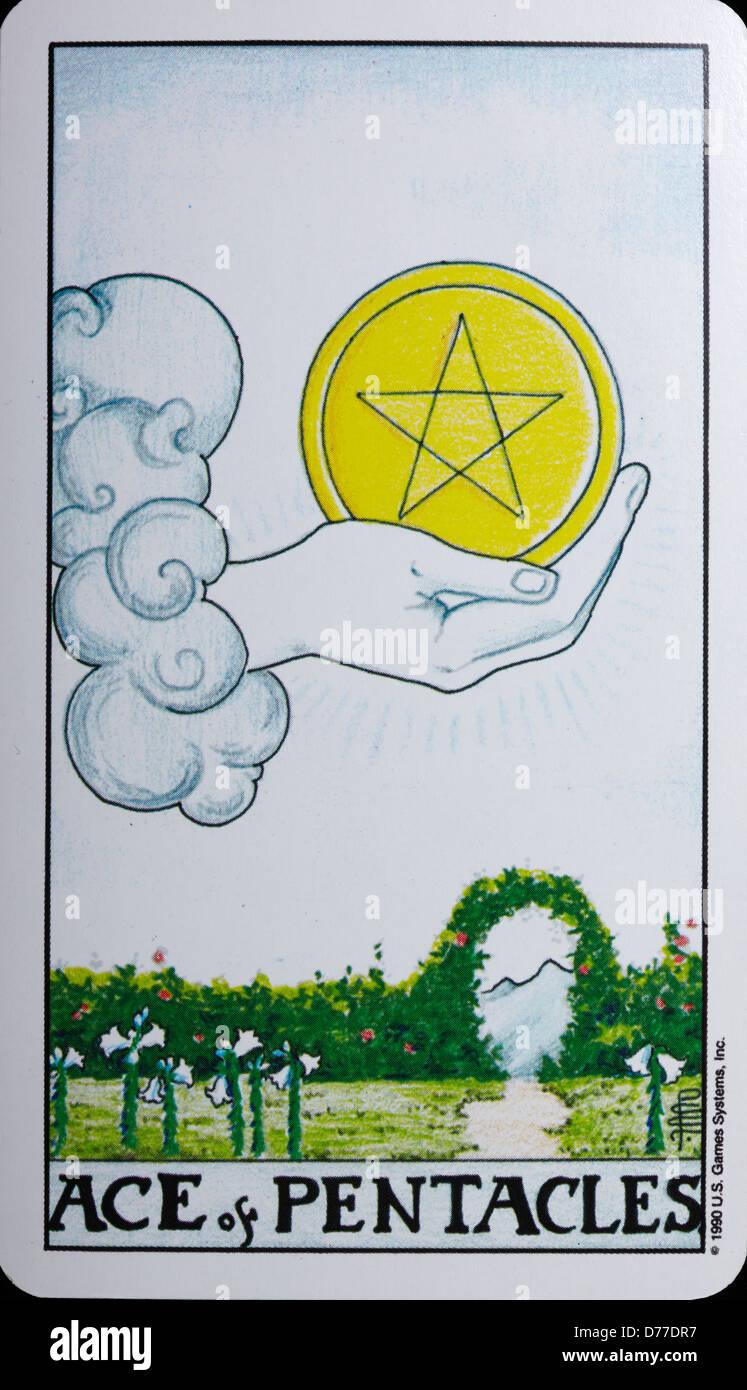 Tarot Card 'Ace of Pentacles' - Stock Image