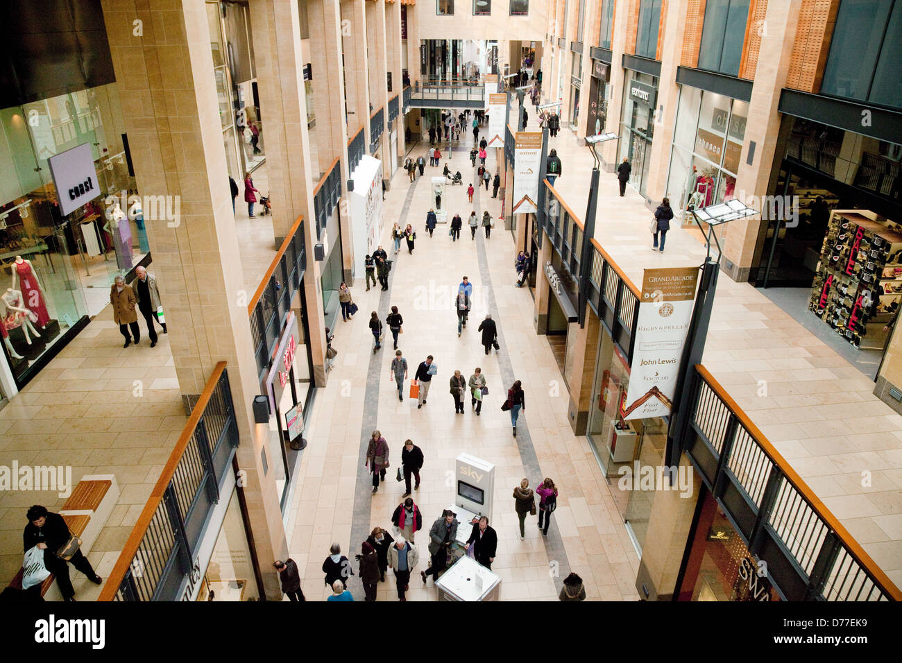 Shoppers in The Grand Arcade Shopping Mall, Cambridge UK, 2013 - Stock Image