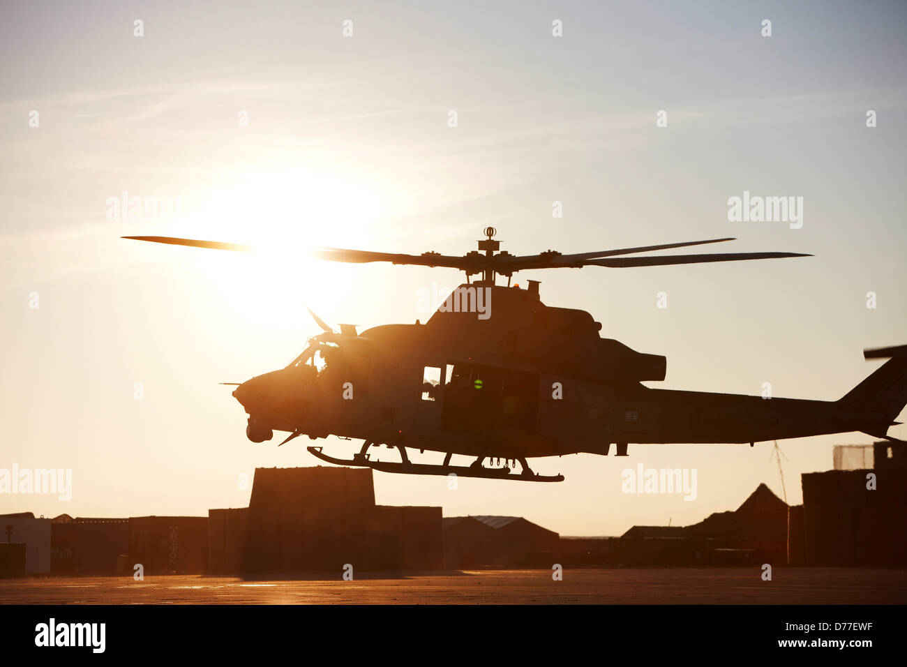 United States Marine Corps UH-1Y Venom helicopter as it embarks on combat operation in Helmand Province Afghanistan - Stock Image