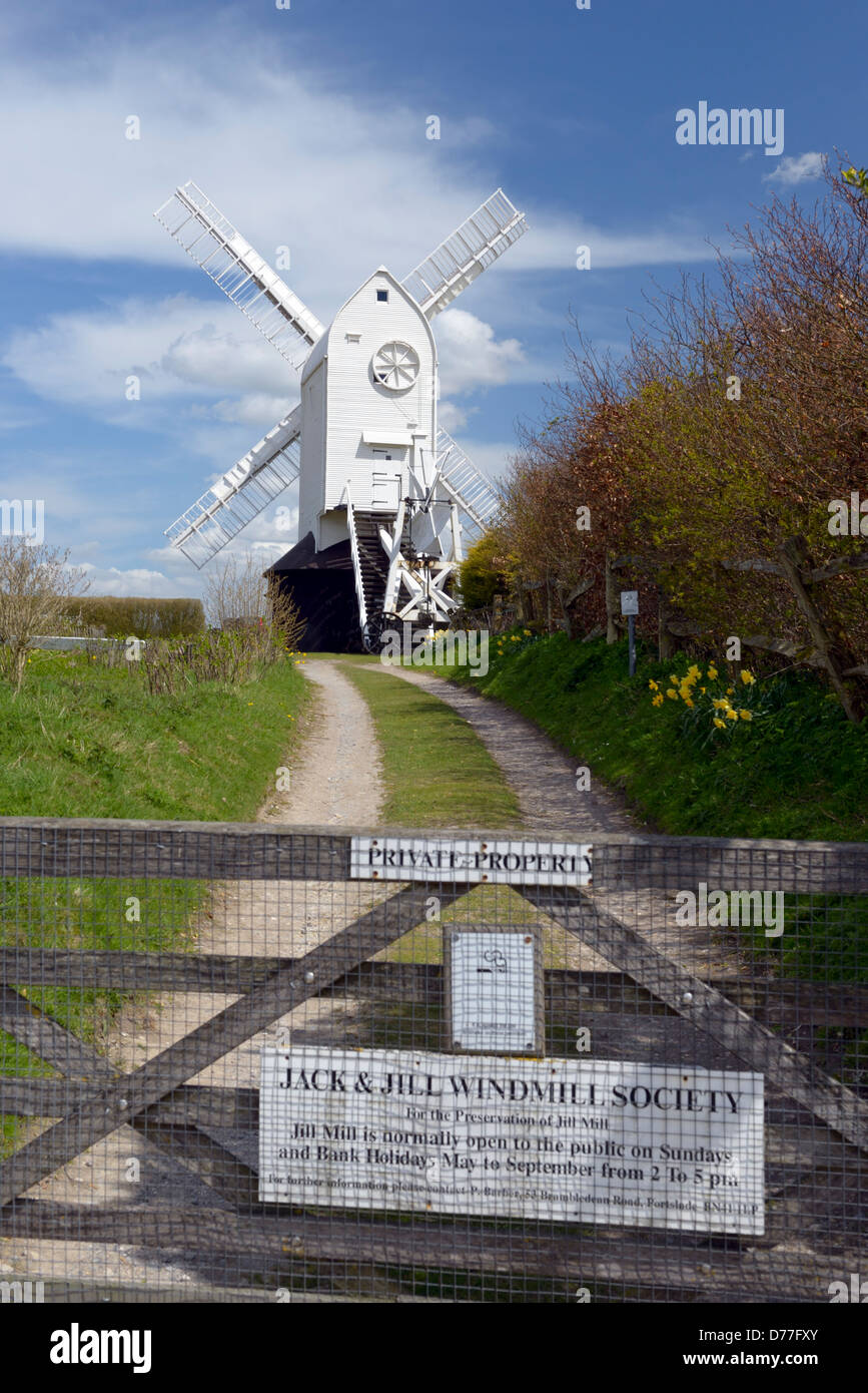 Jill windmill on the South Downs above the village of Clayton, East Sussex, UK - Stock Image