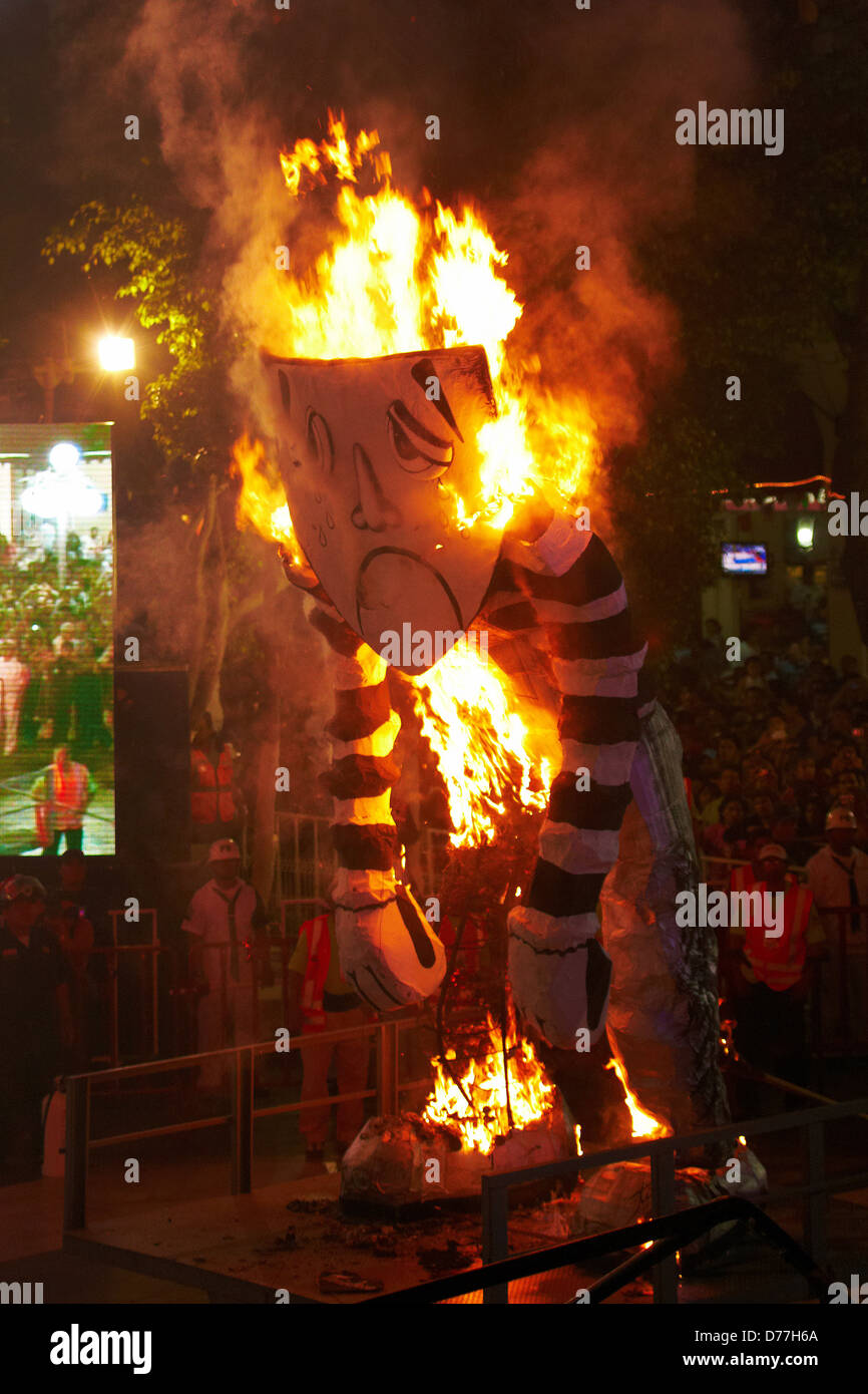Mexico Veracruz city carnival Burning of Bad Temper - Stock Image