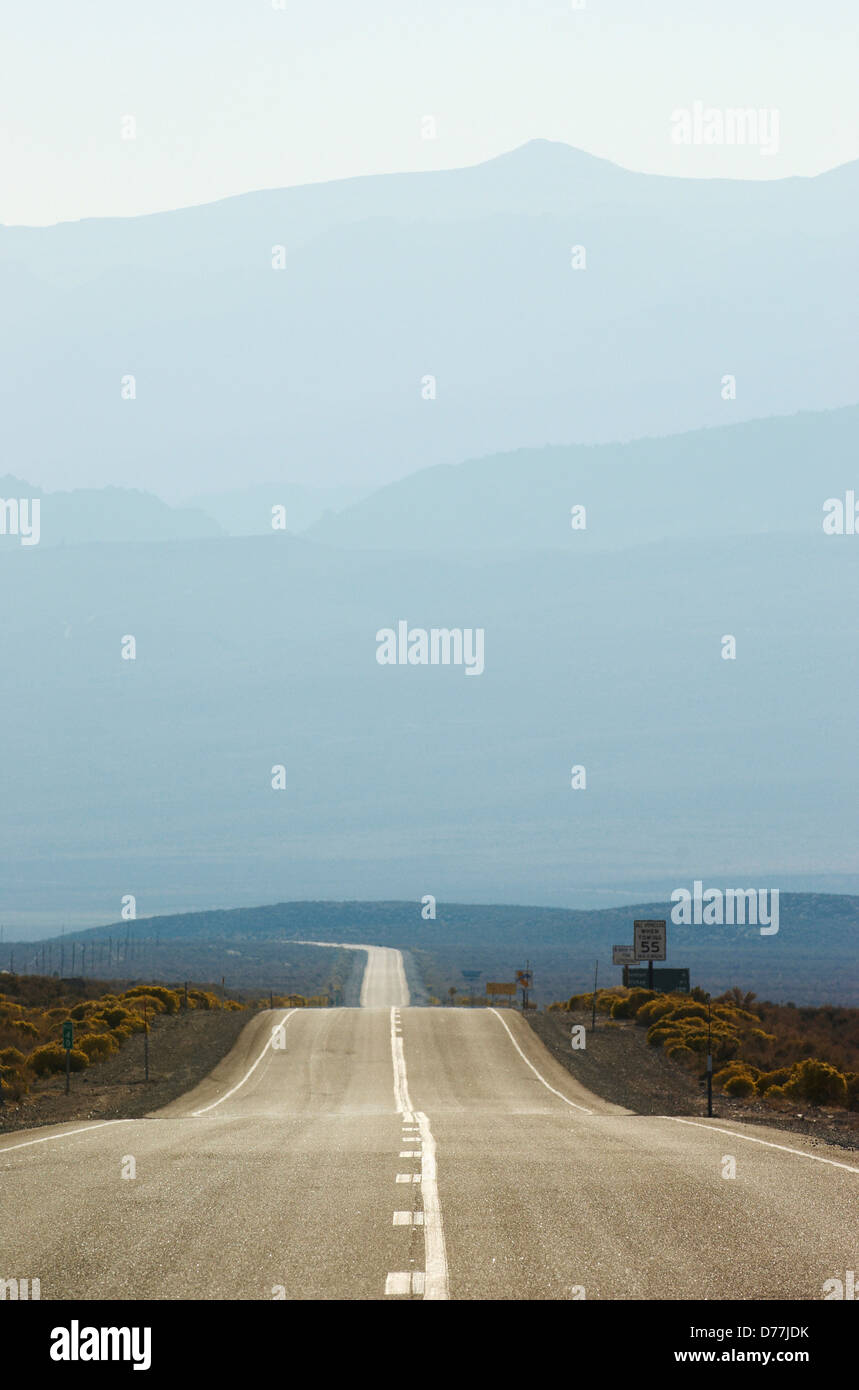 Highway 120 Sierra Nevada Mountains in distance Benton California USA - Stock Image
