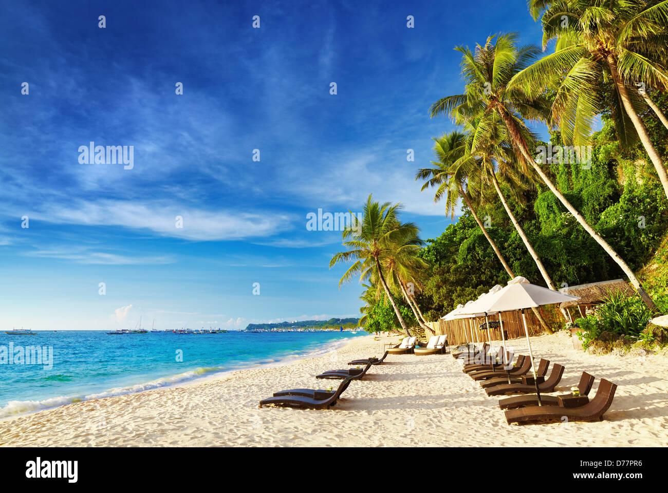 Tropical beach, Boracay island, Philippines Stock Photo