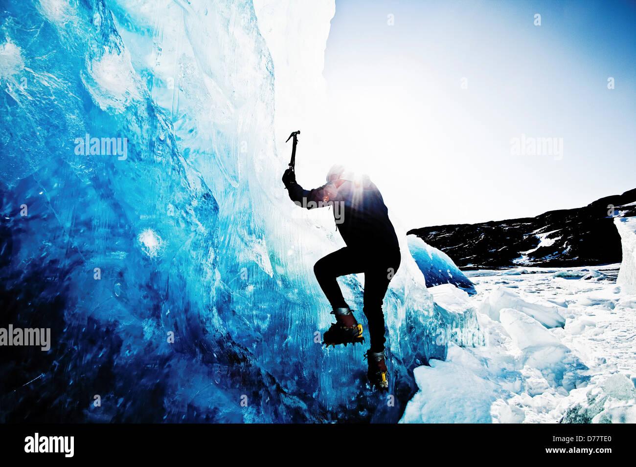Ice Climbing on Mendenhall Lake - Stock Image