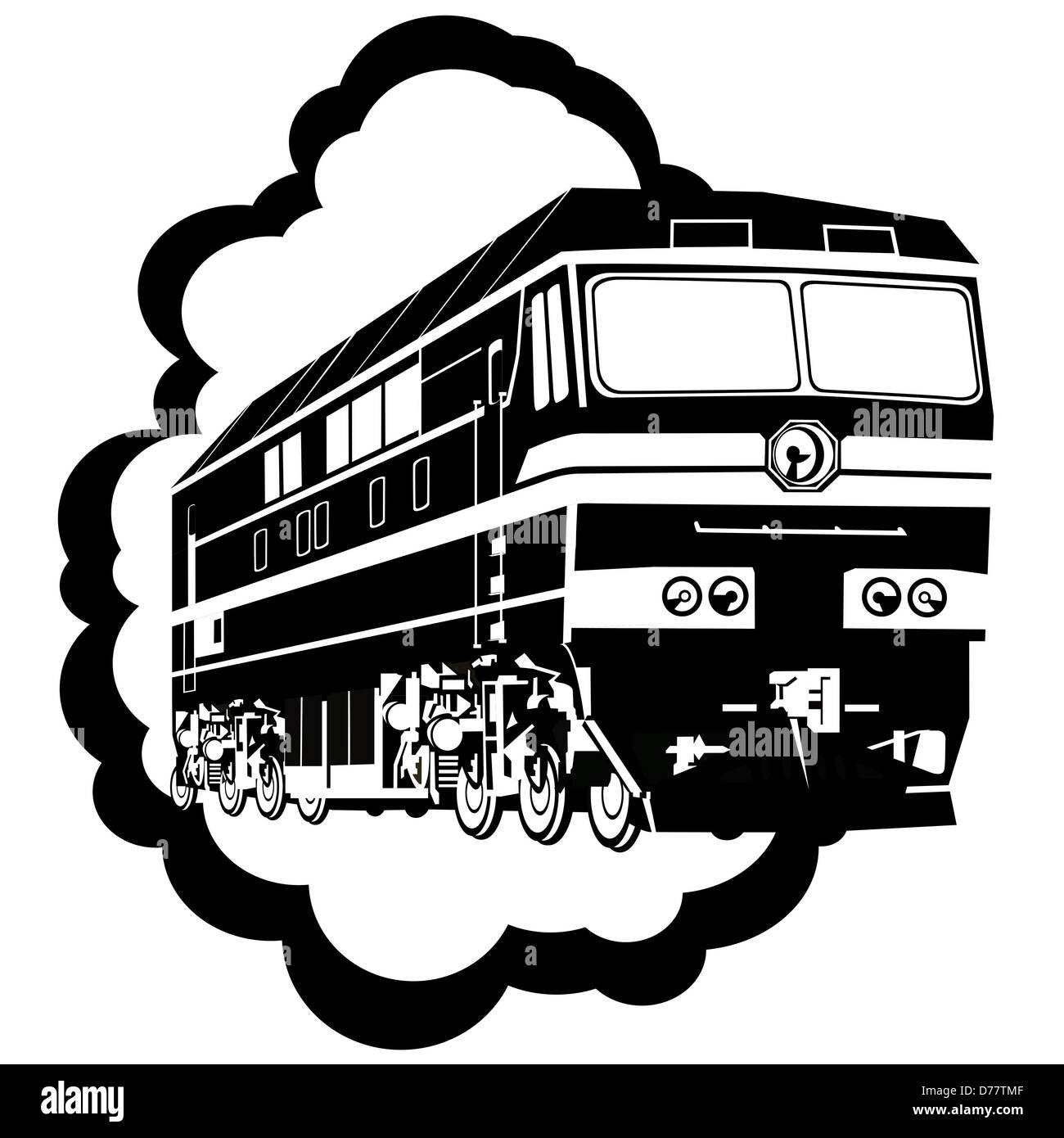 Abstract image of the locomotive. Illustration on white background. - Stock Image