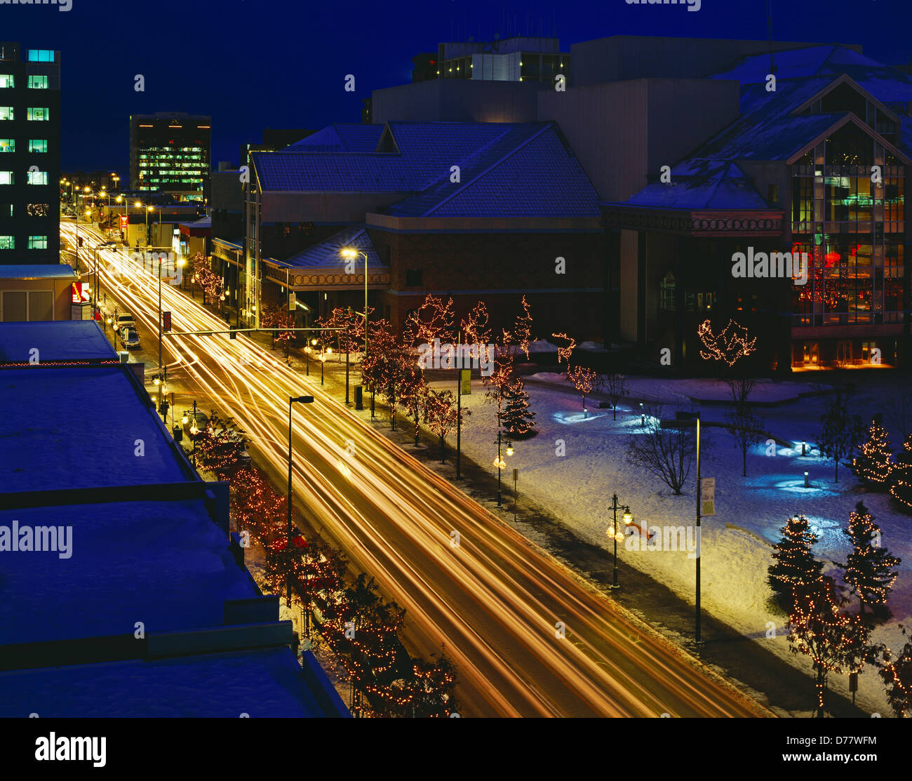 Winter view at dusk Sixth Avenue Performing Arts Center Anchorage Alaska. - Stock Image