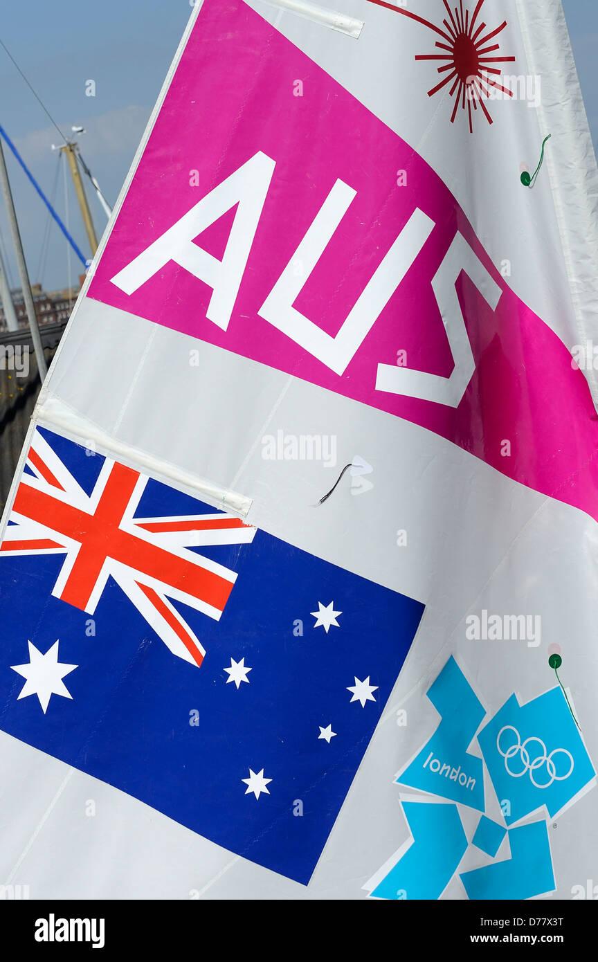 australian flag on a sail for london 2012 olympics - Stock Image