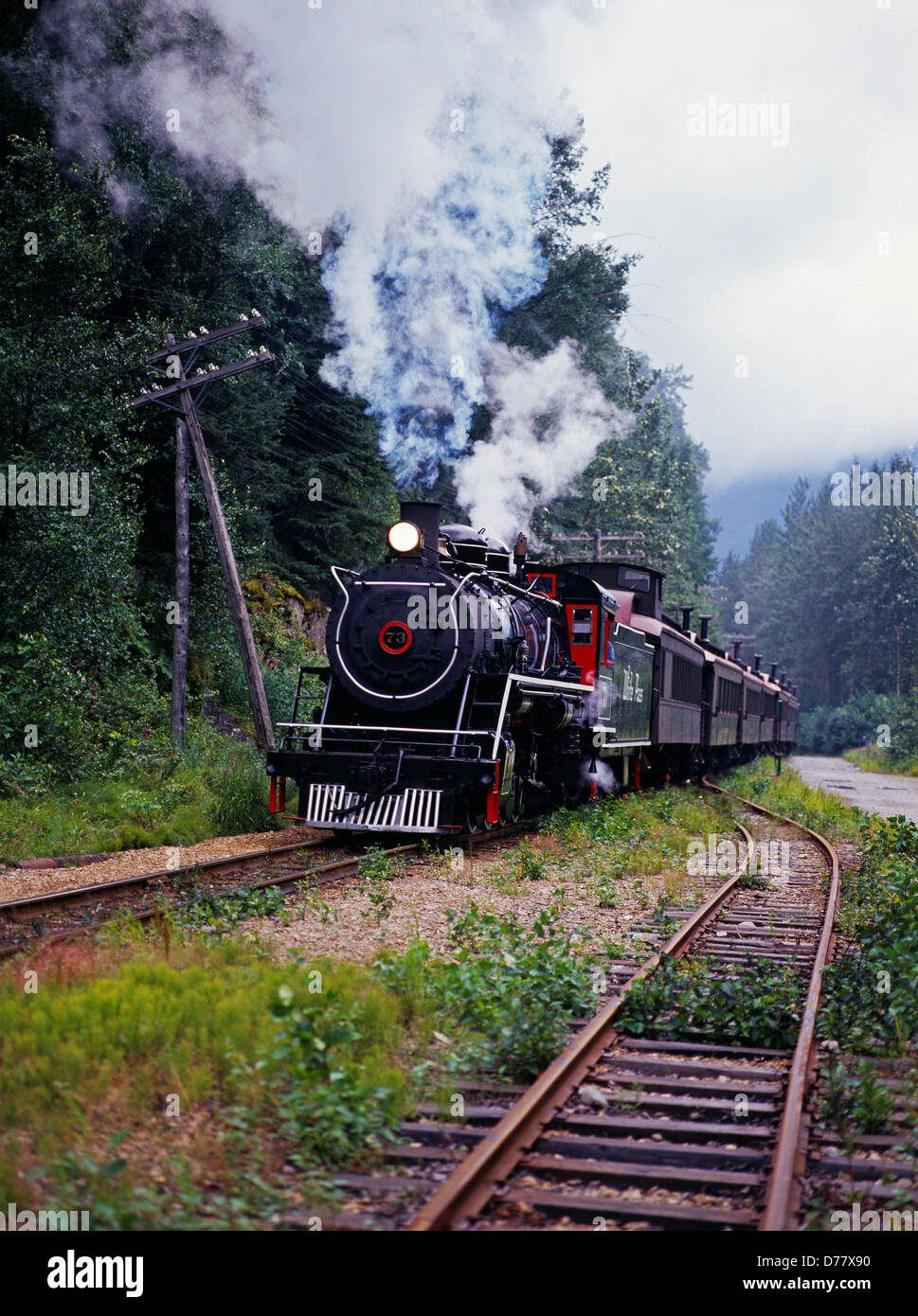 Used Yukon For Sale >> Steam engine number 73 White Pass Yukon Route narrow gauge railroad Stock Photo - Alamy