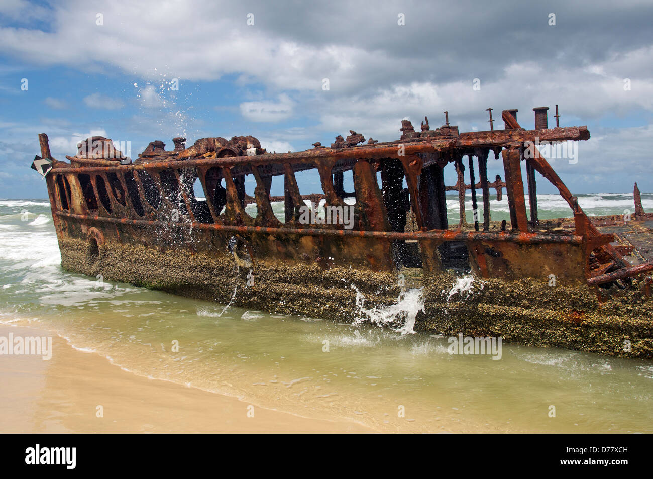 Maheno shipwreck Seventy Five Mile Beach Fraser Island Queensland Australia - Stock Image