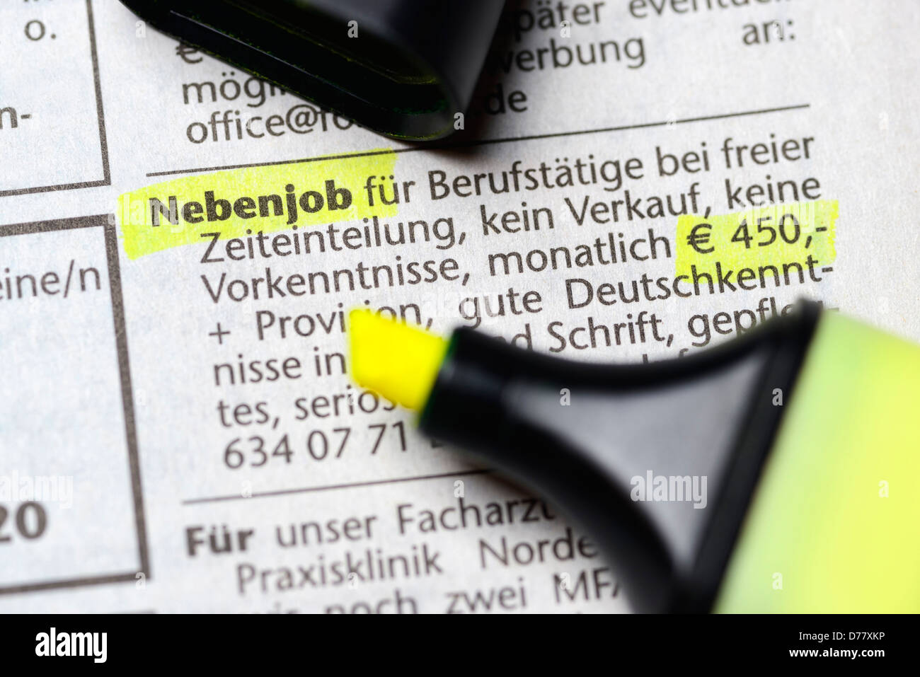 Announcement for a part-time job on 450 euros of base, minijobs - Stock Image