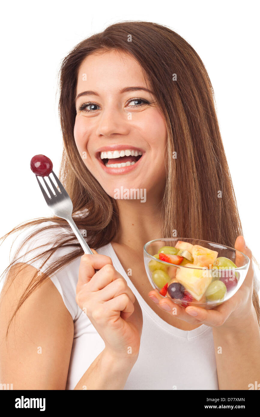 Beautiful Eat In Kitchens: Pretty Woman Eating Fruits Fork Stock Photos & Pretty