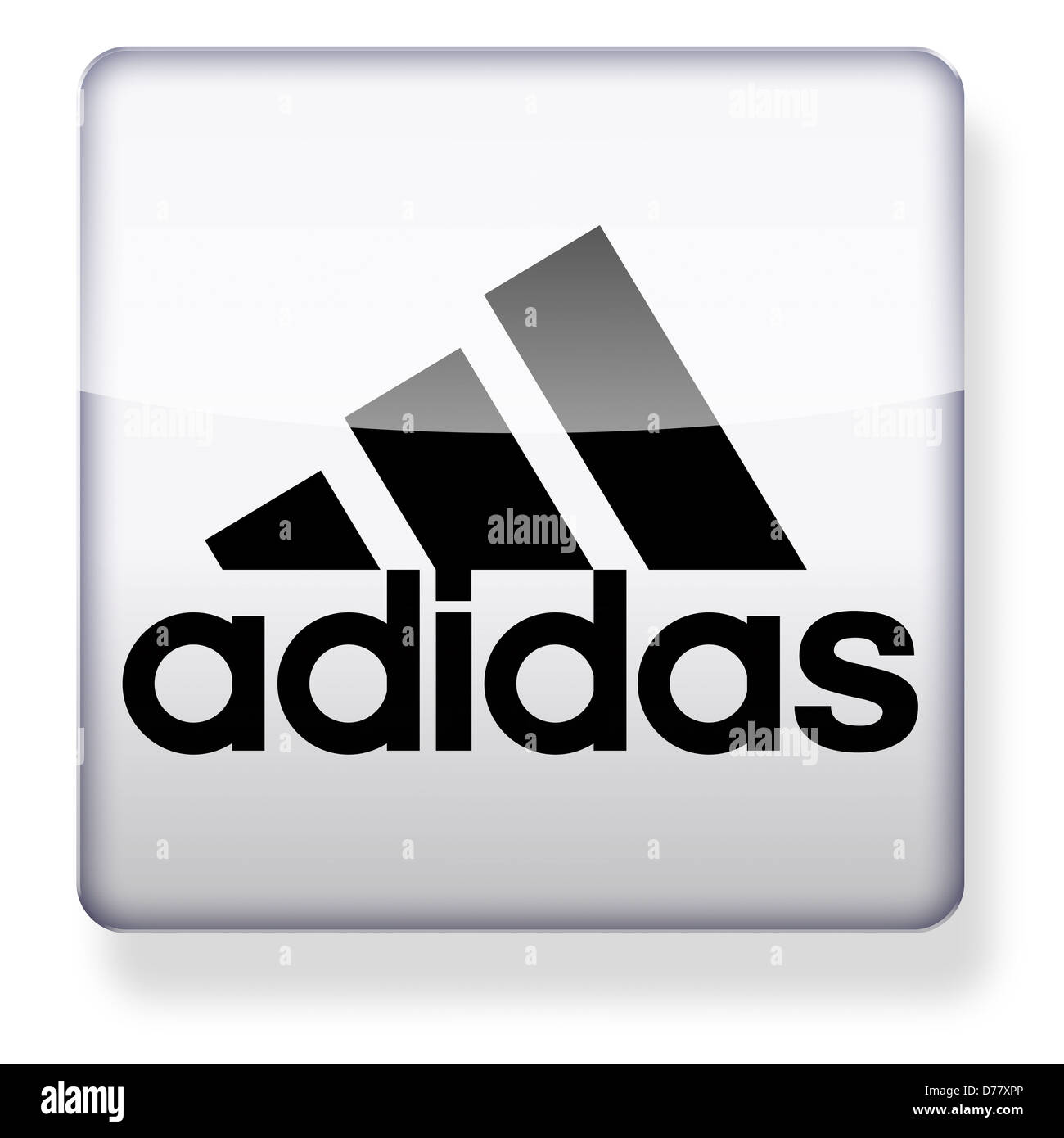 Adidas logo as an app icon. Clipping path included. - Stock Image