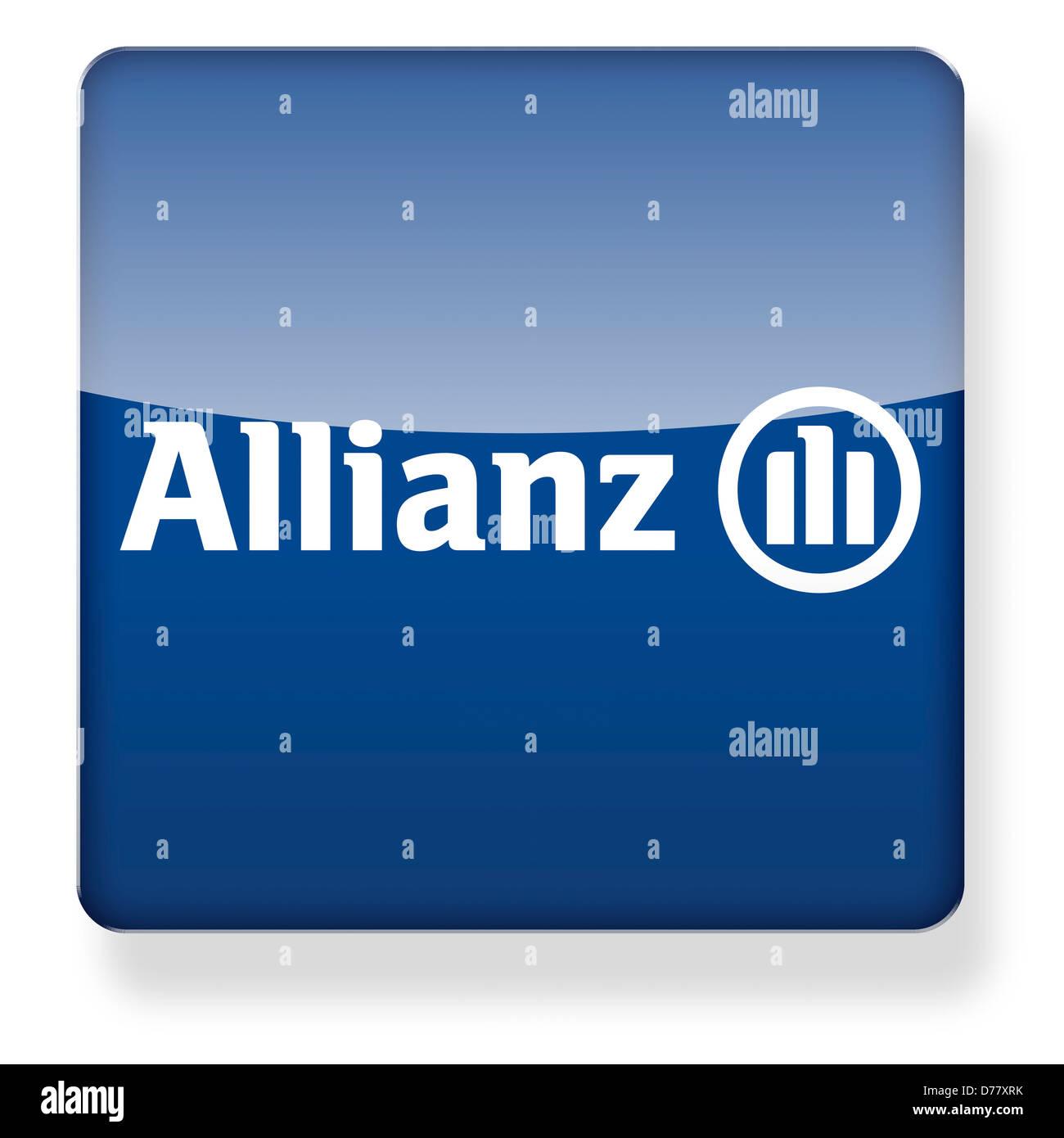 Allianz insurance logo as an app icon. Clipping path ...