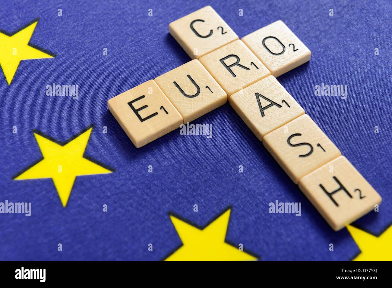 Stroke eurocrash on an EU flag Stock Photo