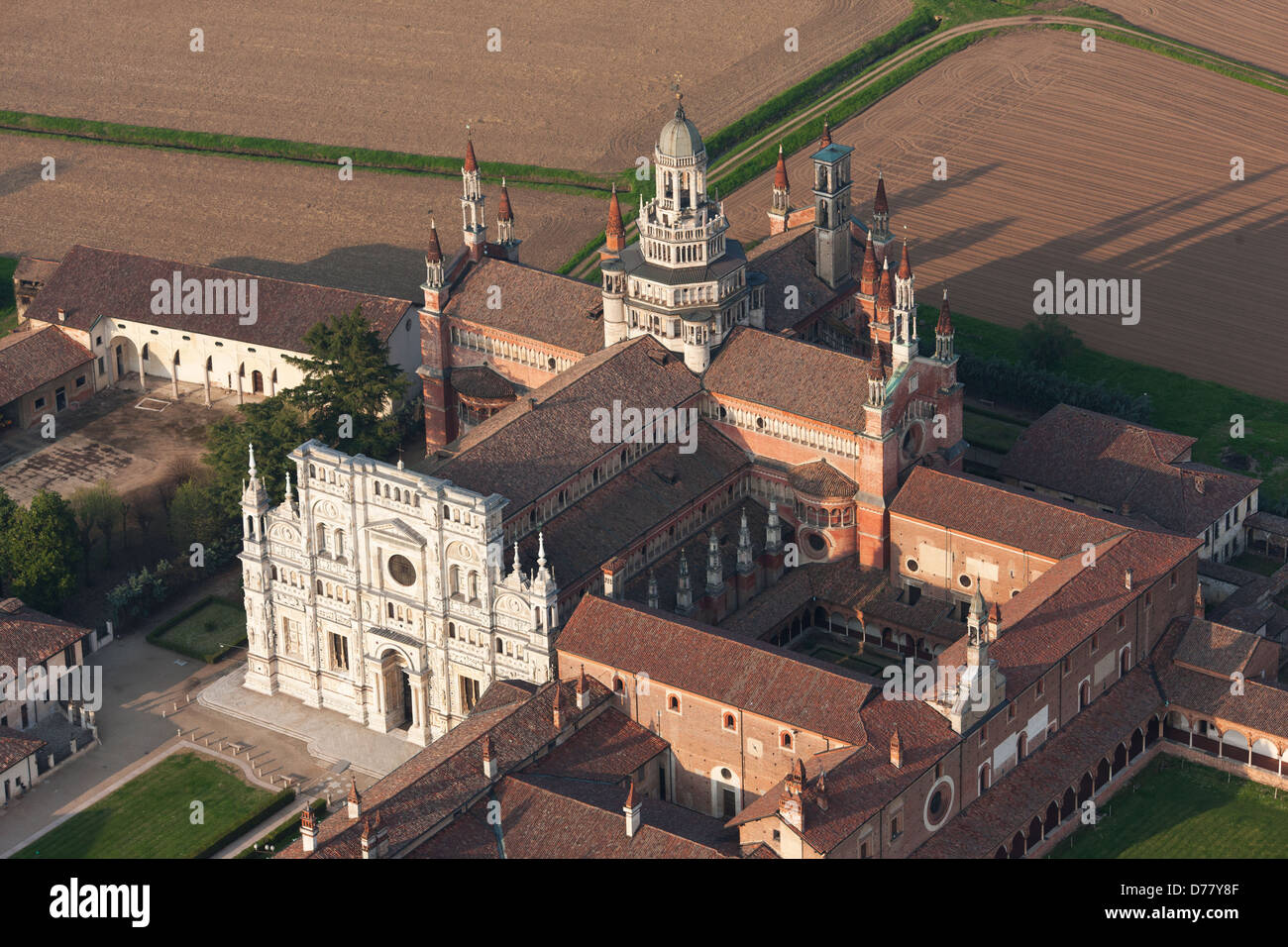 CERTOSA DI PAVIA (aerial view). Carthusian monastery south of Milan, in the Po Valley, Lombardy, Italy. - Stock Image