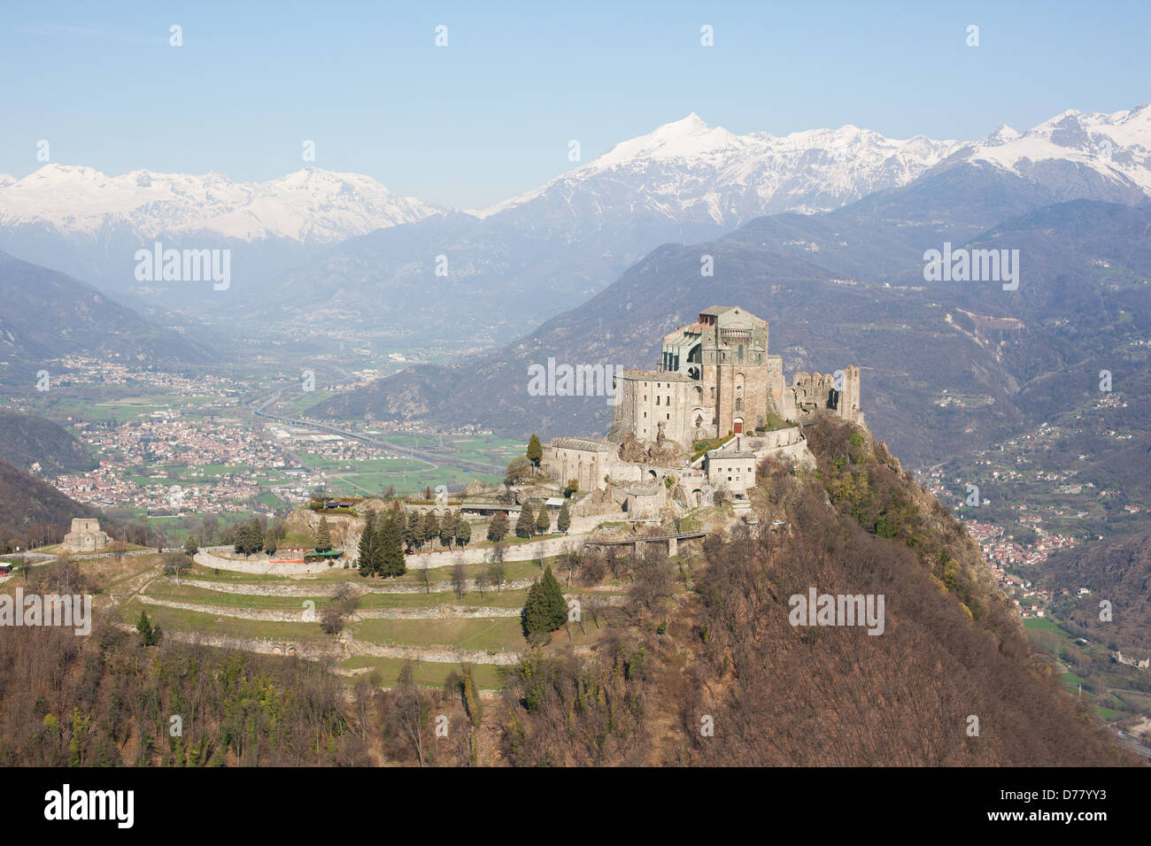 SACRA DI SAN MICHELE (aerial view). Abbey on a rocky promontory, high above the Susa Valley, Italian Alps, Piedmont, - Stock Image