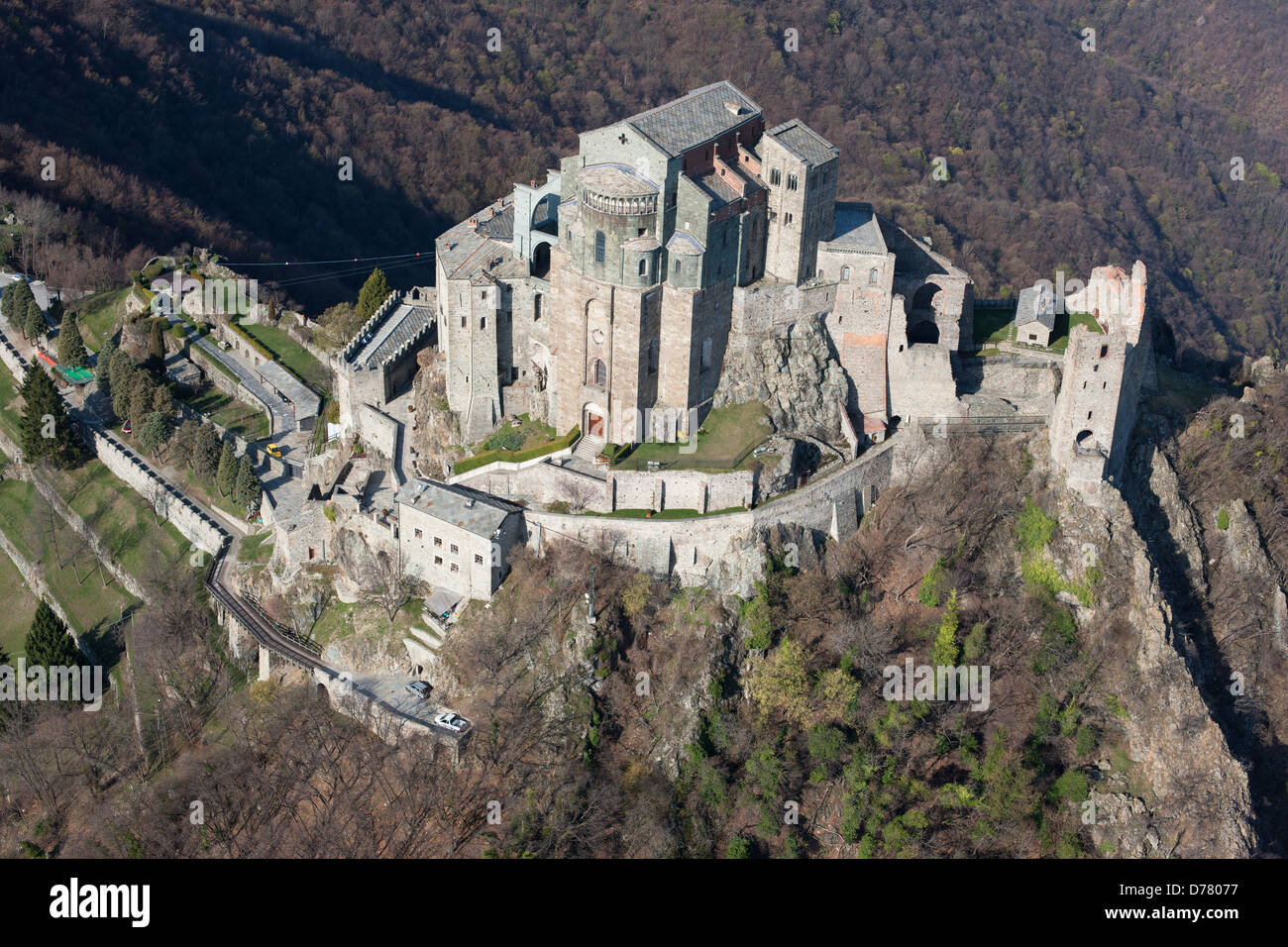 SACRA DI SAN MICHELE (aerial view). Abbey on a rocky promontory, high above the Susa Valley, in western Piedmont, - Stock Image