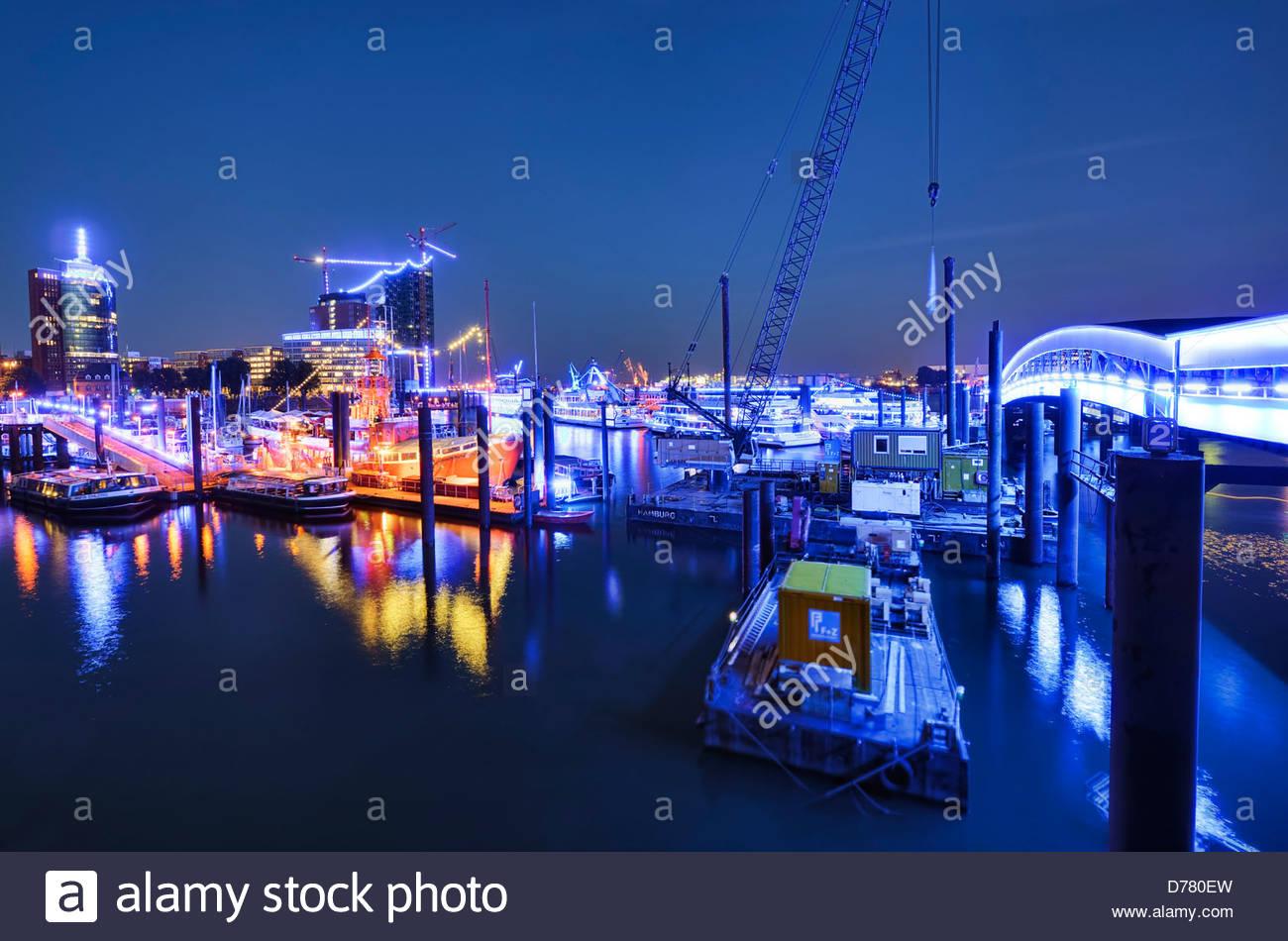 Illumination Blue port of Michael Batz, city-sports harbour with lightship and Elbphilharmonie in Hamburg, Germany, - Stock Image